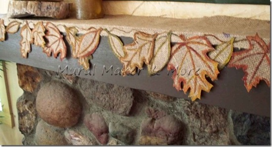 friday feature--burlap leaf mantel scarf from mural maker and more blog