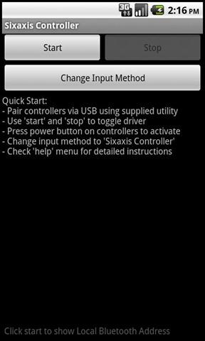 Main permainan video Android dengan kawalan Sixaxis