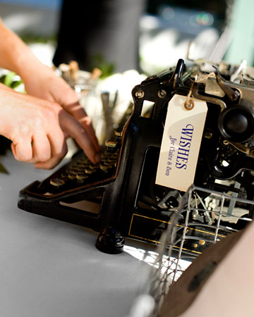 This vintage typewriter was displayed so guests could type messages to the couple.