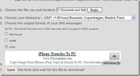 Servizio internet per esportare in un documento gli SMS inviati e ricevuti su iPhone