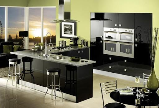 cocinas sper brillosas en colores negro y gris
