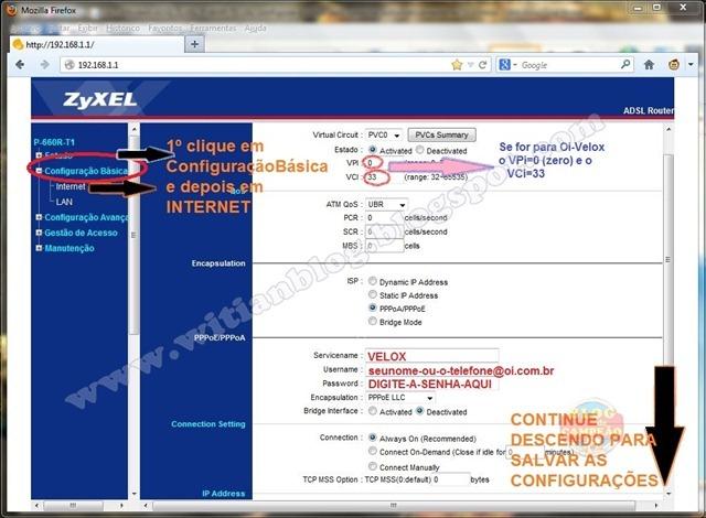3 - Configuração e Roteamento - Modem ADSL ZyXEL P-660R-T1 v3s, configurar e rotear para conectar automaticamente na Oi – Velox - Witian blog