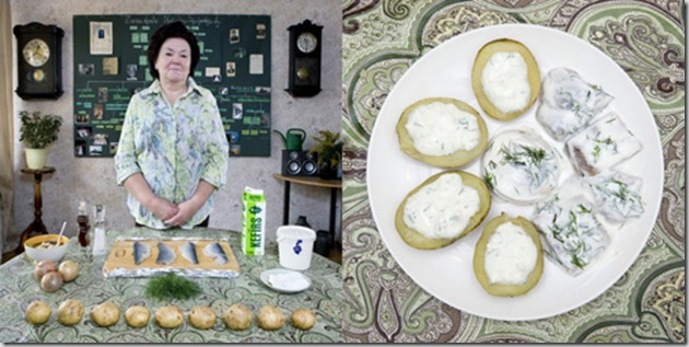 Inara Runtule, 68 years old, Kekava, Latvia. Silke, herring with potatoes and cottage cheese