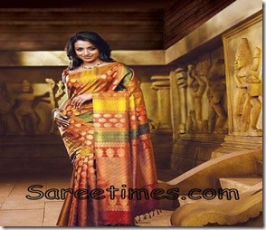 Trisha_Orange_Designer_Saree