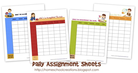 photograph regarding Printable Assignment Sheet named Day by day Assignment Sheets ~ No cost Printables