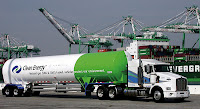 Trucks like this LNG-fueled Kenworth T800 have become a reality at Los Angeles ports