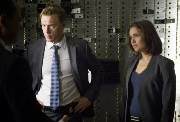 "THE BLACKLIST -- ""Monarch Douglas Bank"" Episode 202 -- Pictured: (l-r) Diego Klattenhoff as Donald Ressler, Megan Boone as Elizabeth Keen -- (Photo by: Virginia Sherwood/NBC)"