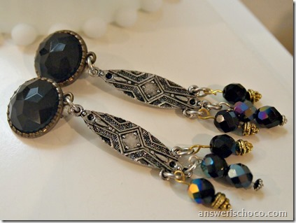 Black Gold Silver Earrings