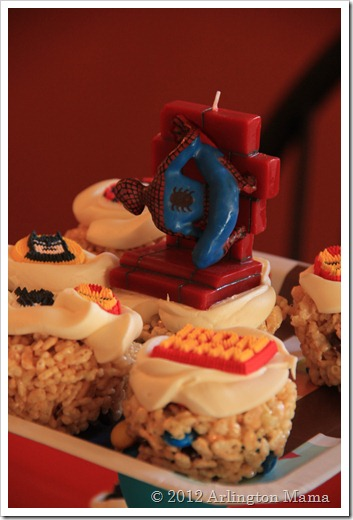 """Superhero Birthday Party"", ""Spiderman Ironman, Captain America"", ""Rice Crispy Treat Cupcakes"", ""Cupcake tower"", ""Spiderman Candle"""