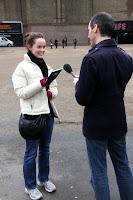 Lauren getting interviewed