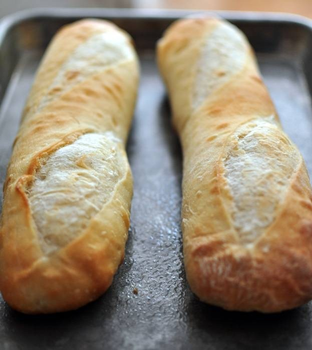 I get home and put the Ecce Panis baguettes in the oven...
