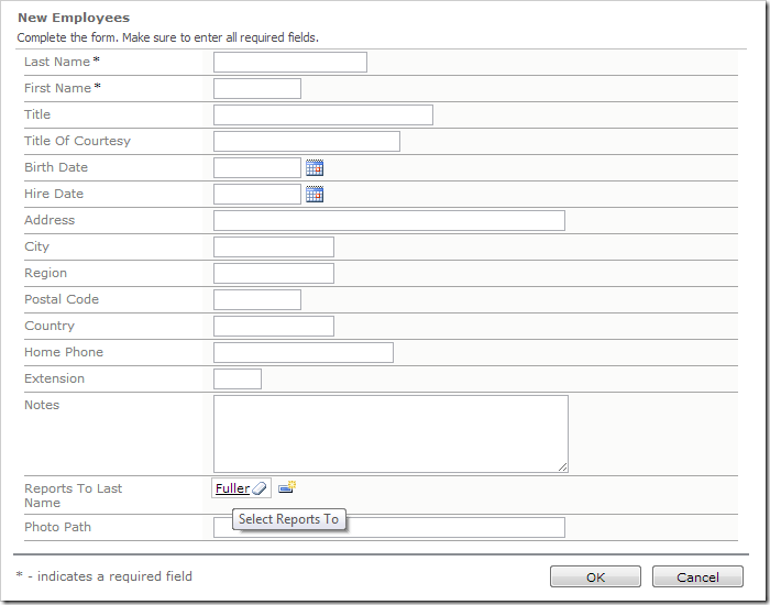 Default value for Reports To has been populated and displays correctly.