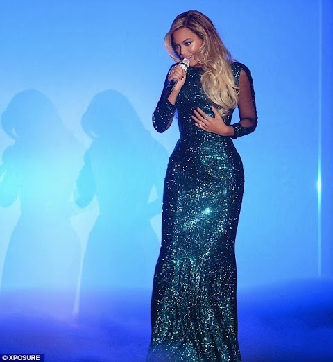Beyonce wows in glittering dress while performing at the BRIT AwardS