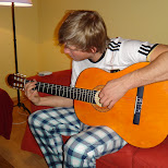 hugo playing guitar in Seefeld, Tirol, Austria