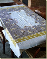 vintage tablecloth with vegies