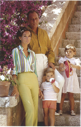 What a color palette in this family portrait. August 1967. A young family is pictured in the shade of the bougainvillea; Prince Allesandro 'Tinti' Borghese with his wife, Contessa Fabrizia Citterio, and their two children, Alessandra and Fabio Borghese, at Il Pellicano. Borghese, owner of the Monto Argentario estate, sold the land to the Grahams on which the hotel was established, after first building a house nearby as a gift to Queen Juliana of the Netherlands (1909-2004).