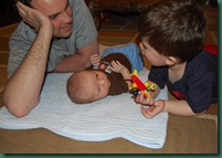 daddy and boys playing