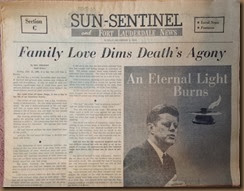 Kennedy_newspaper headline_1 Dec 1963_Sun Sentinel