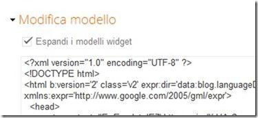 modifica modelllo espandi modelli widget