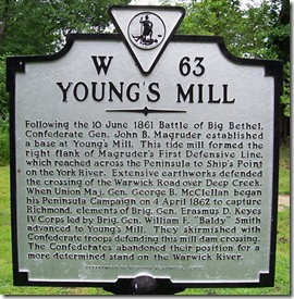Young's Mill marker W-63 in Newport News, VA
