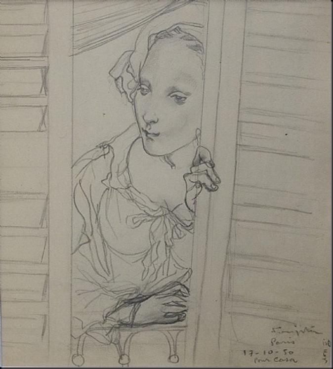 Jeune femme ouvrant ses volets 1950
