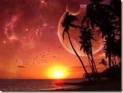 praia por de sol