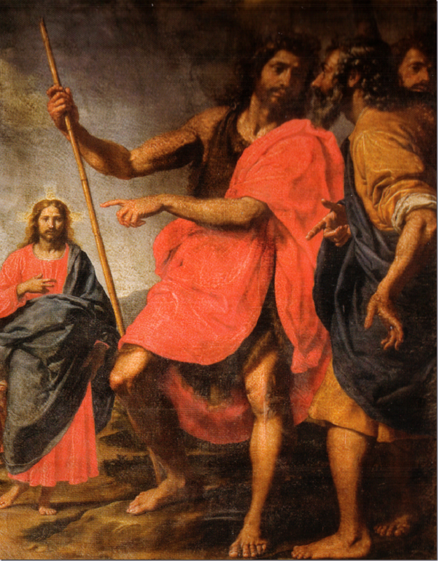 Jesus (left) is being identified by John the Baptist to Saint Andrew, by Ottavio Vannini, 17th century. San Gaetano, Florence