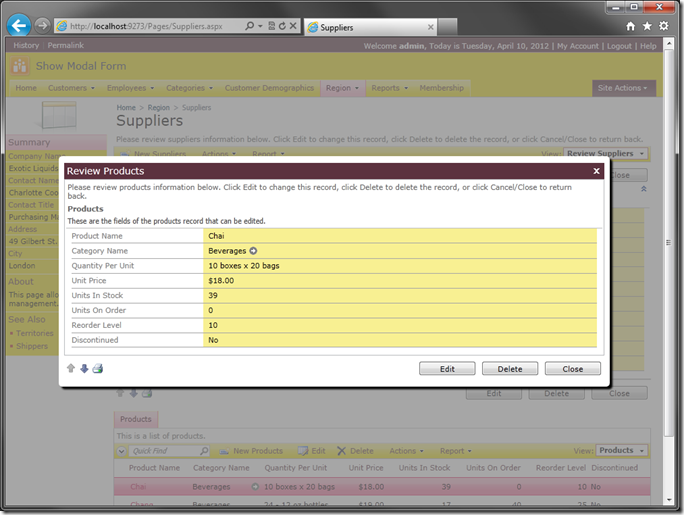 Modal form view displaying a selected child Products on Suppliers page in web application created with Code On Time