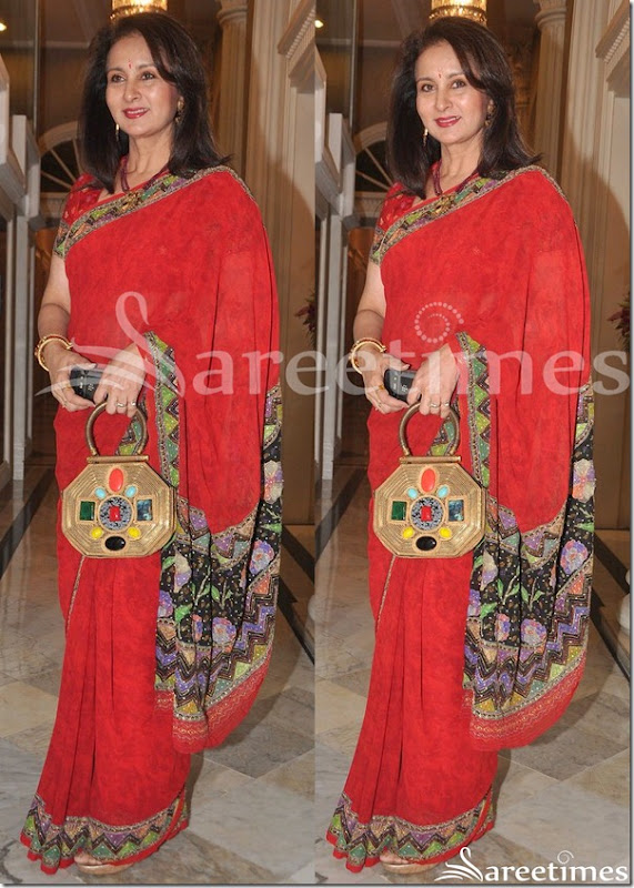 Poonam_Dhillon_Red_Saree