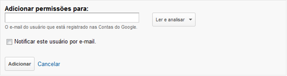 Adicionar permissões  - Google Analytics