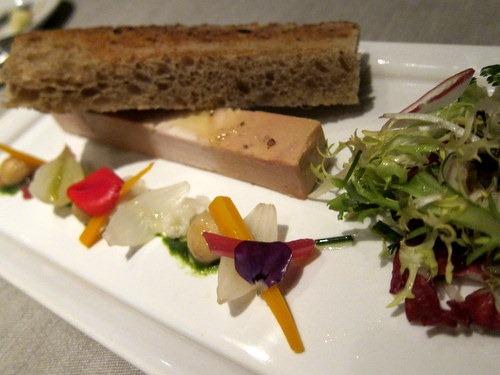 FOIE GRAS ET VOLAILLE cuisines ensemble, salade de legumes croquants, pain de campagne toaste - Duck foie gras and poultry layers, crunchy vegetables salad, toasted country bread