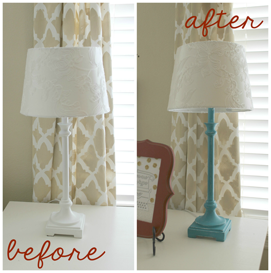 before and after lamp makeover