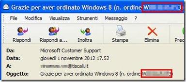 Numero ordine Windows 8 nella mail della Microsoft