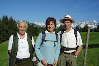 Michael West, Jane Eberhardt (Austria Walk Leader) & Chris Hague in Austria, September 2007 Credit: A. Wood