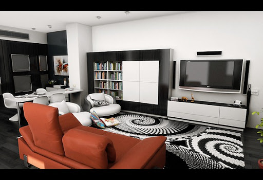 Modern living room bold area rug orange sofa thumb 255b3 255d