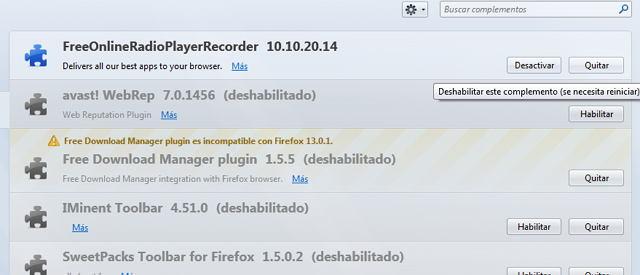 Toolbars instaladas en Mozilla Firefox