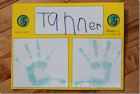 Child's Handprints and Name