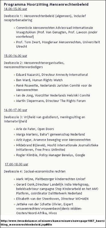 MENSENRECHTENBELEID HOORZITTING TWEEDE KAMER NL 19 MAART 2012