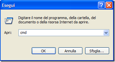 Prompt dei comandi di Windows Start - Esegui
