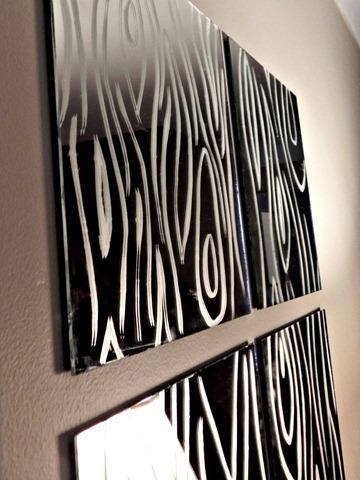 faux bois mirror detail