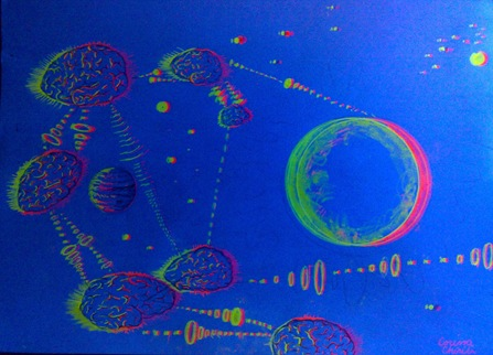 Telepathy netword 3D fluorescent drawing