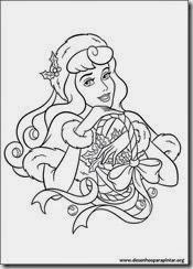 Princesas Disney de Natal desenhos para colorir imprimir e pintar