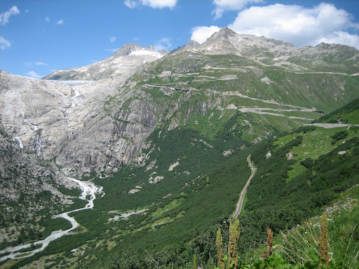 The zig zags with the Rhone Glacier on the left.
