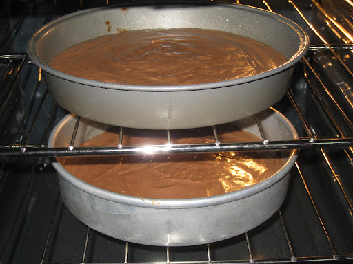All ingredients well blended and poured into two cake pans.