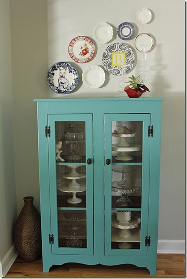 turquoise cabinet and plate wall from old new borrowed bleu