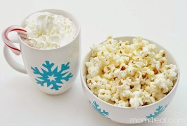 popcorn and hot chocoalte