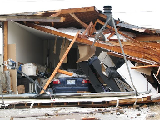 The tornado caused a roof to collapse on S. Glen Avenue.