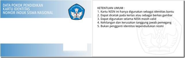 Template default Kartu NISN