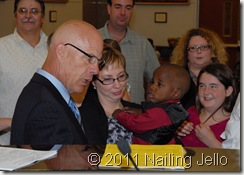 Me holding William while attorney asks me to testify