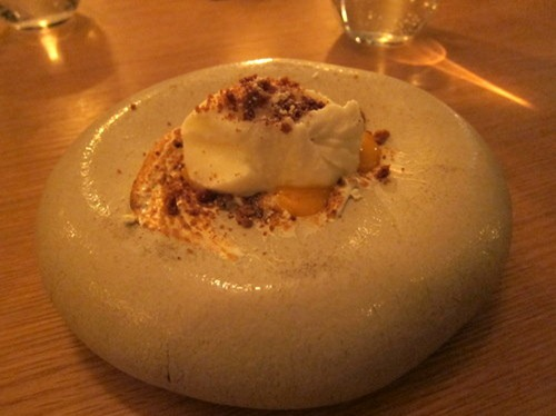 Sea buckthorn with burnt meringue and yoghurt sorbet